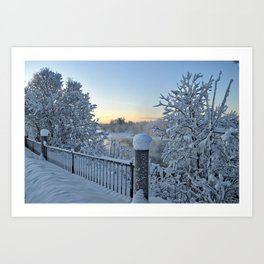 Winter on the Chena River Art Print
