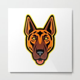 German Shepherd Dog Head Front Mascot Metal Print