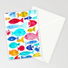 Fish Pattern - Ocean - Nautical - Sea - Swim - Crabs - Summer Stationery Cards