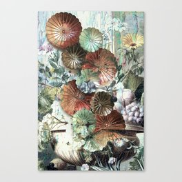 Abstract textured pastel floral still life Canvas Print
