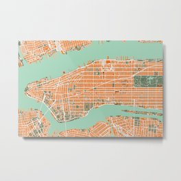 New York city map orange Metal Print