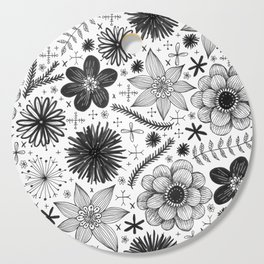 black and white floral print Cutting Board