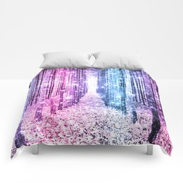 Magical Forest : Pastel Pink Lavender Aqua Periwinkle Ombre Comforters
