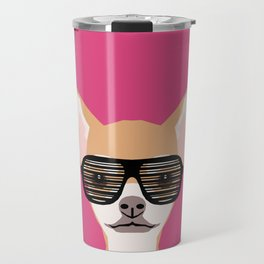 Misha with Glasses - Aviator glasses, hipster glasses, chihuahua, dog, cute, pet, cute dog Travel Mug