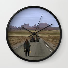 Forrest Gump Illustration by Burro Wall Clock