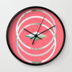 Minimalist Waves in Watermelon Wall Clock