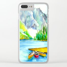 Lake Louise Watercolor Clear iPhone Case