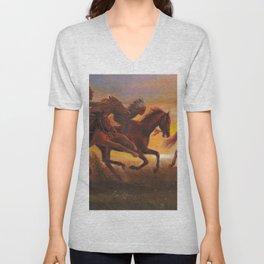American Natives Riding On Horses Unisex V-Neck