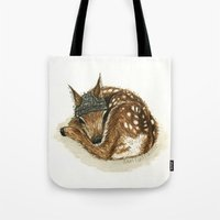 fawn Tote Bags featuring Fawn by Sam Luotonen