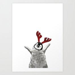 Christmas Baby Penguin Reindeer Art Print