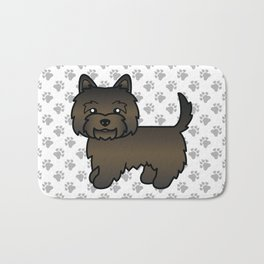 Cute Dark Brindle Cairn Terrier Dog Cartoon Illustration Bath Mat