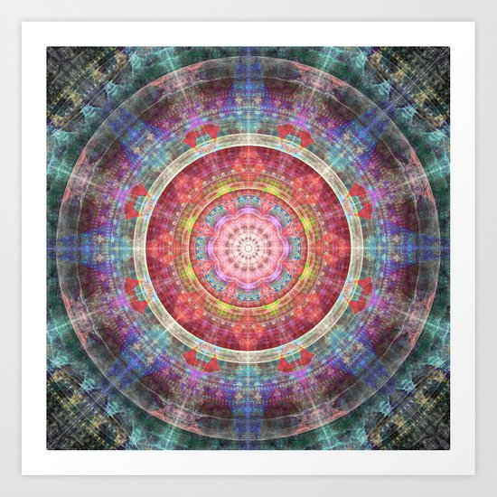 groovy colourful mandala filled with tribal patterns Art Print