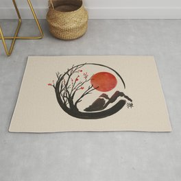 Zen Enso Circle and Sakura Tree  Rug