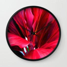 Red Ti Leaf Wall Clock