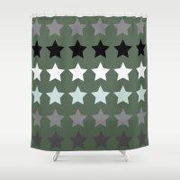 army Shower Curtains featuring Army stars by kongkongdigital