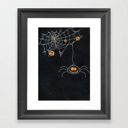 Halloween Spider on Web Framed Art Print