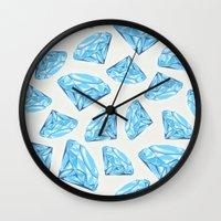 diamond Wall Clocks featuring diamond by Ceren Aksu Dikenci