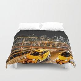 New York city: yellow cabs on Brooklyn bridge Duvet Cover