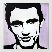 james franco Canvas Prints featuring James Franco by Katy Rose