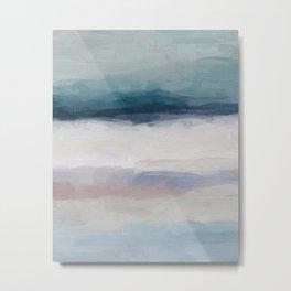 Dark Teal Blue, White, Pink, Light Blue Modern Wall Art, Ocean Waves Diptych Nursery Beach Decor Art Metal Print