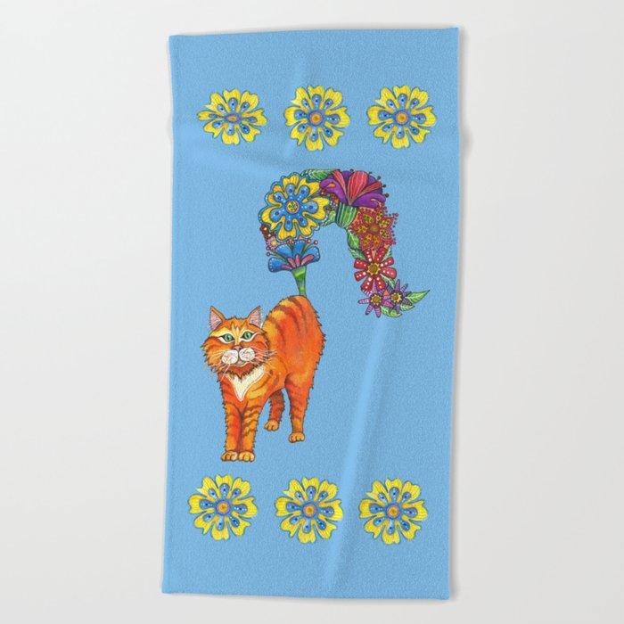Classy Cat Chloe (Blue) Beach Towel