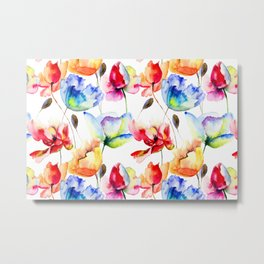 Red, Orange and Blue Poppies - Tulips Watercolor Paint Pattern Metal Print