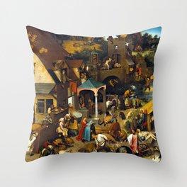 Pieter Brueghel Netherlandish Proverbs Throw Pillow