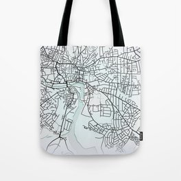 Ipswich, England, White, City, Map Tote Bag