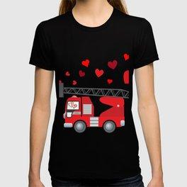 Valentine's Day Firetruck Hearts Gift Kids Boys T-shirt