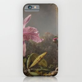 Cattelya Orchid And Three Brazilian Hummingbirds 1 By Martin Johnson Heade | Reproduction iPhone Case
