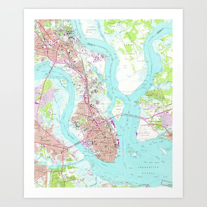 Vintage Map of Charleston South Carolina (1958) Art Print by ... on