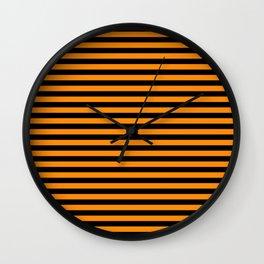 Dark Pumpkin Orange and Black Halloween Deck Chair Stripes Wall Clock