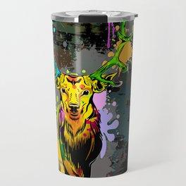 Deer PopArt Dripping Paint Travel Mug