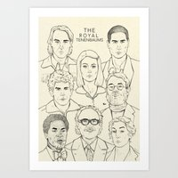 the royal tenenbaums Art Prints featuring The Royal Tenenbaums by Magdalena Pankiewicz