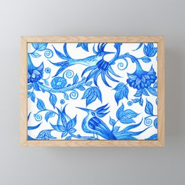 Feeling blue-Birds Framed Mini Art Print