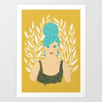 Big Hair with White Floral Art Print