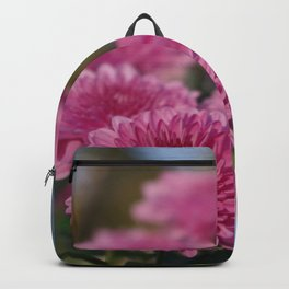 Rosy Chrysanthemum with gold leaves, blue sky Backpack