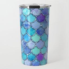 Colorful Blues Mermaid Scales Travel Mug