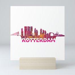 Rotterdam Holland Skyline Scissor Cut Giant Text Mini Art Print