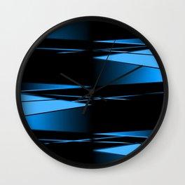 Black, blue geometric pattern. Wall Clock