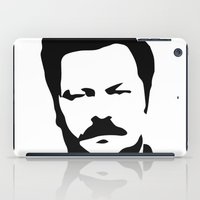 ron swanson iPad Cases featuring Ron Swanson by Bjarni Bragason