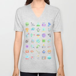 CUTE SCIENCE / SPACE / SCI-FI PATTERN Unisex V-Neck