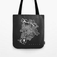 berlin Tote Bags featuring BERLIN by Nicksman