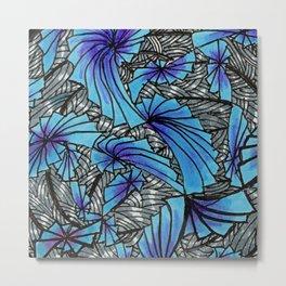 Mandala Blue Grey Abstract Metal Print