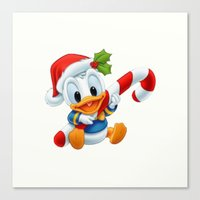 donald duck Canvas Prints featuring Christmas baby Donald Duck by Yuliya L