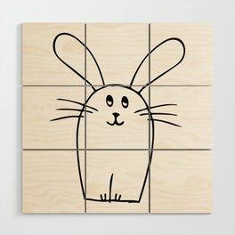 wonky bunny doodle Wood Wall Art