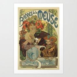 Alfons Mucha art nouveau beer ad Art Print