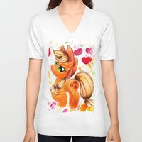 my little pony V-neck T-shirts featuring AppleJack My Little Pony Watercolor by JerZy