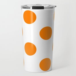 Large Polka Dots - Orange on White Travel Mug