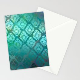 """Turquoise Ocean Damask Pattern"" Stationery Cards"